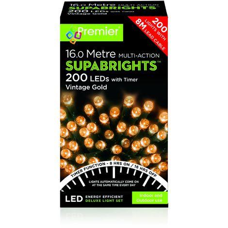 200 Multi Action LED Supabrights Timer - Vintage Gold