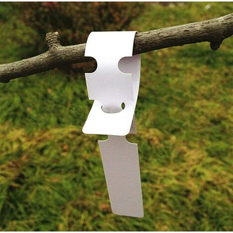 """main image of """"200 white plastic labels for plants and trees to hang 2 x 20 cm with large white writing surface"""""""