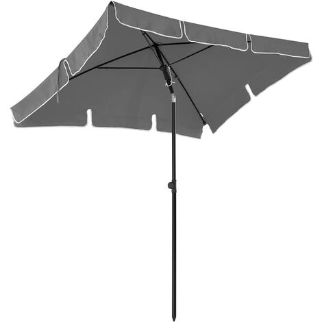 200 x 125 cm Rectangular Garden Parasol, Sunshade, UV50+, Sun Protection, Tilt Mechanism, Polyester Canopy with Carry Bag, for Garden, Balcony, Patio, Base Not Included, Taupe/Grey/Red