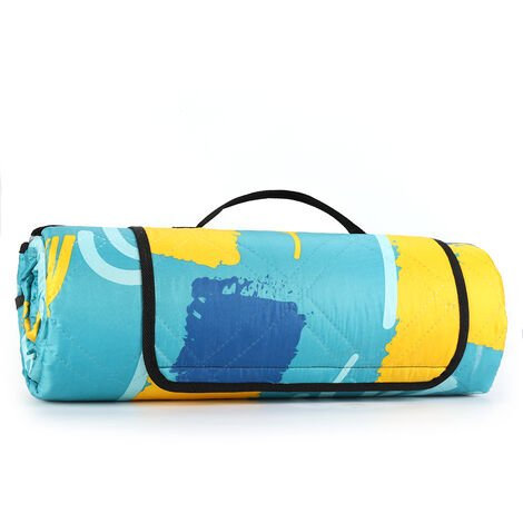 200 x 200CM Couverture Pique-Nique imperméable - Tapis de Picnic pour Camping composée de Trois Couches bleu - pissenlit