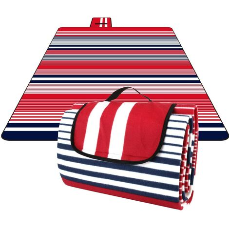 200 x 200cm Waterproof Portable Foldable Picnic Mat Blanket with One Layer Waterproof for Camping Garden (Velcro Red)