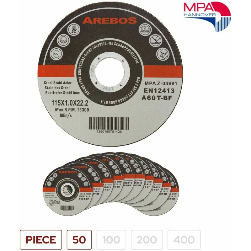 Image of 50 x Metal Cutting Discs 1mm Ultra Thin 4 1/2' 115mm Angle Grinder Disc Steel