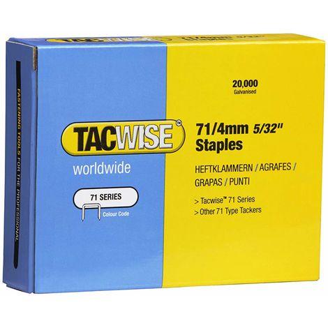 20000 Tacwise 4mm Type 71 series Galvanised staples for staple gun guns 0365