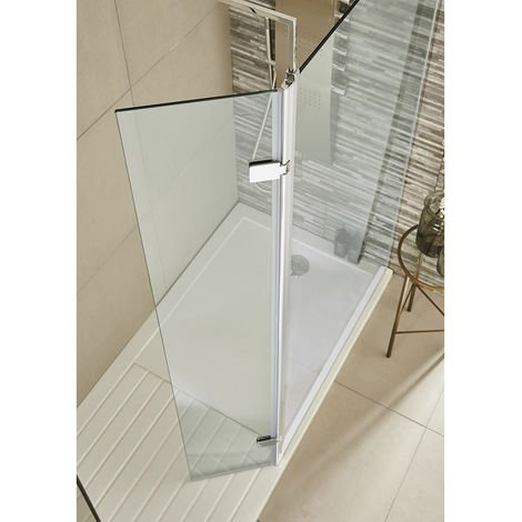 2000mm x 300mm Walk in Glass Hinged Return Screen 10mm
