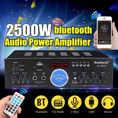2000W 110V-220V amplificateur de puissance Audio Bluetooth avec télécommande ampli stéréo récepteur FM entrée USB SD pour salle de réunion cinéma maison