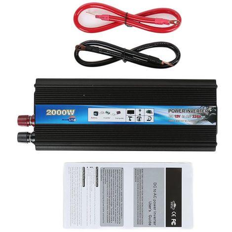 2000W Convertisseur Onduleur Puissance 12V - 220V De l'Énergie Solaire Auto Voiture Maison
