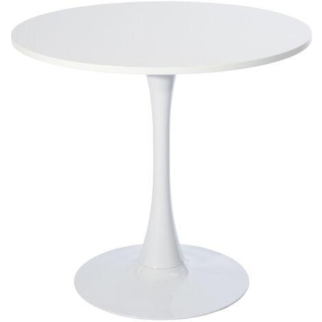 2007 Table à manger ronde blanche 4 places