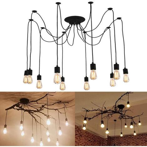 200cm Classic Edison Pendant Lamp Vintage Ceiling Lamp E27 Retro Spider Hanging Light Industrial Pendant Light 10 Lights Black