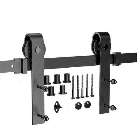 200CM Kit de riel para puerta corrediza de hardware, kit de puerta colgante de madera industrial (6 pies)