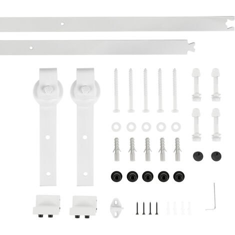 200cm Kit Instalación Montaje Puerta Corredera Kit para Puerta Deslizante Puerta Corrediza Interior Riel Acero blanco