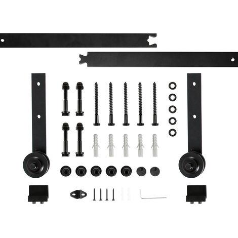 200cm Kit Instalación Montaje Puerta Corredera Kit para Puerta Deslizante Puerta Corrediza Interior Riel Acero Negro