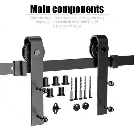 200cm Puertas Kit de Accesorios para Puerta Correderas de Granero Puerta Montaje Juego de Piezas de Metal Rieles Rodillo Acero de Carbono
