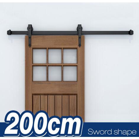 200CM Quincaillerie Kit de Rail pour Porte Coulissante, Ensemble Industriel Hardware Kit pour Porte Suspendue en Bois Système de Porte avec Roulettes et Rail(Forme d'épée)