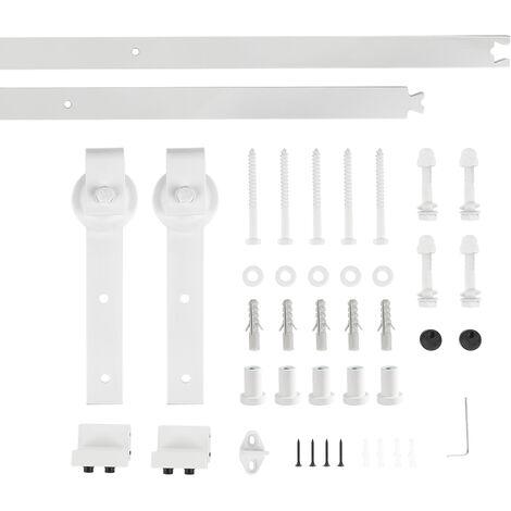 200CM Quincaillerie Kit de Rail pour Porte Coulissante, Ensemble Industriel Hardware Kit pour Porte Suspendue en Bois Système de Porte avec Roulettes et Rail(Forme d'épée) Blanc