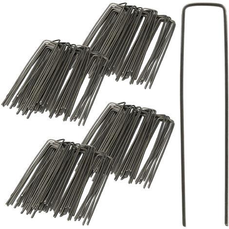 200er Set Bodenanker, Angeschrägte Enden, Zum Einschlagen, Unkrautvlies, 15 cm lang, 2 mm Ø, Stahl, Silber