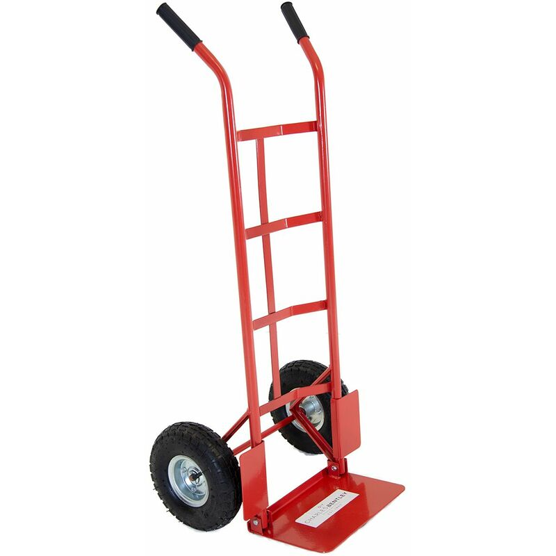 Image of 200kg Folding Small Toe Plate Trolley/Sack Truck - Red - Charles Bentley