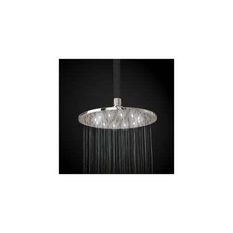 200mm Fixed Brass Chrome Round Shower Head With White Led Lights