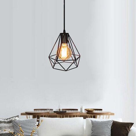 200MM Retro Ceiling Lamp Vintage Chandelier Industrial Pendant Light Diamond Hanging Light Black Metal Iron Lamp Shade