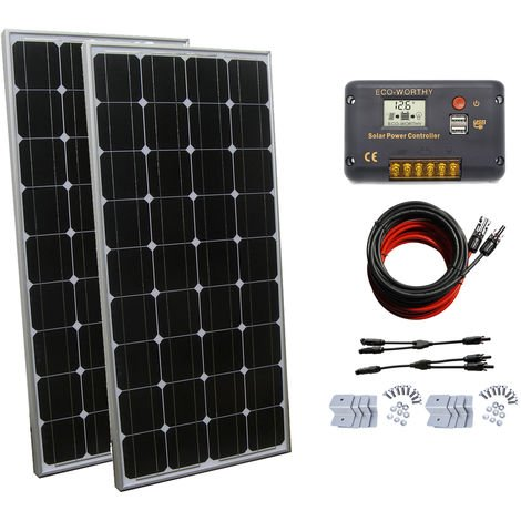 200W 2x 100W Mono Solar panel & 20A solar charger controller For RV Vehicle Home