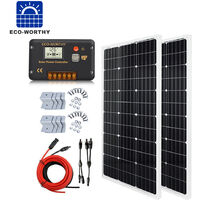 200W Complete Kit 2*100W 12V SOLAR PANEL & 20A Controller for Car Caravan PV