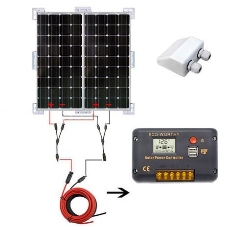 200W OFF GRID kit 2*100W Mono Solar panel & 20A Charge Controller FOR caravan
