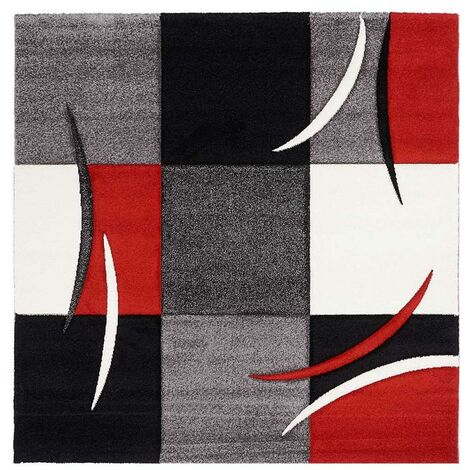 200x200 carre 200x200 - UN AMOUR DE TAPIS - DIAMOND COMMA - - tapis Moderne Design Tapis salon - Tapis carré - tapis Rouge, gris, noir, créme - Couleurs et Tailles Disponibles