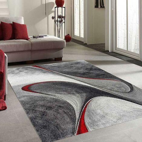 200x200 carre 200x200 - UN AMOUR DE TAPIS - MADILA - carré - Tapis Moderne Design tapis Salon - Tapis Rouge Gris Noir - Couleurs et Tailles Disponibles