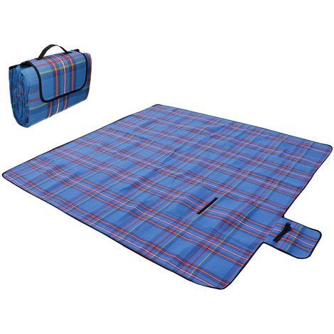 200x200cm Pique-nique couverture tapis bleu pour camping jardin avec sangles