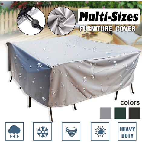200x200x85cm PVC Furniture Cover Covers Waterproof Patio Rattan Table Cube (Silver, 200x200x85cm)