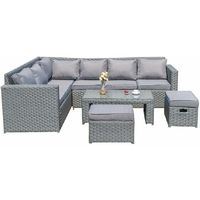 2019 NEW Barcelona 8 Seater Rattan Corner Sofa Set &Coffee Table Set Garden Patio Set Grey with Rain cover