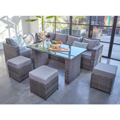 2019 NEW Barcelona Rattan garden furniture 9 seater Dining Corner sofa set Grey