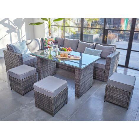 2019 NEW Barcelona Rattan garden furniture 9 seater Dining ...