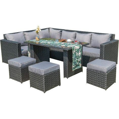 2019 NEW Barcelona Rattan garden furniture 9 seater Dining Corner sofa set Grey with Rain Cover