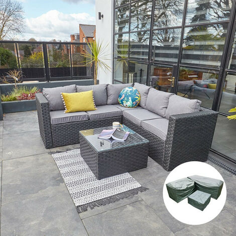 2019 New Vancouver Outdoor Rattan Garden Furniture 5 Seater Corner Sofa Patio Set Black with Cover