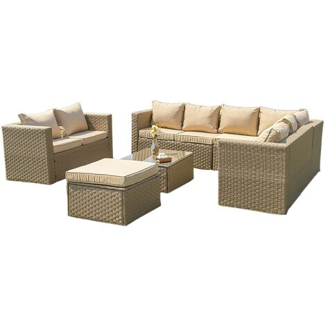 2019 New Vancouver Outdoor Rattan Garden Furniture 9 Seater Corner Sofa Patio Set Sand with Cover