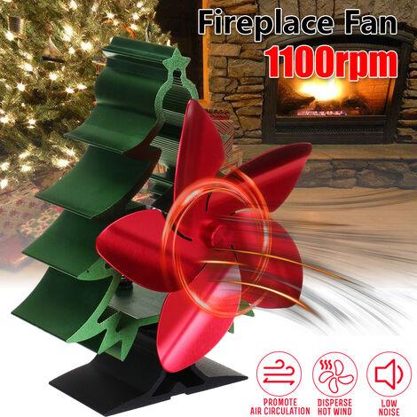 2020 Nuevo Ventilador de estufa con energía térmica 3/5 aspas Chimenea Quemador de leña Ventilador silencioso Respetuoso del medio ambiente Distribución eficiente del calor Ventilador caliente con caja de embalaje navideña de Navidad