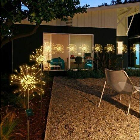 2021 fireworks solar Warm white 120 LED lights