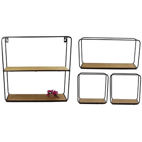 2.05 4er Set Metall Wandregal mit Holzboden in 3 Größen