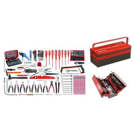 2070.E18 Sélection électronique 120 outils plus boîte à outils métal