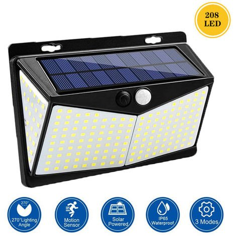 208L-ED lampara solar, sensor de movimiento, 3 modos IP65 resistente al agua, al aire libre de iluminacion de gran angular