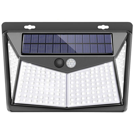208LED Solar Lámpara Luz de pared Impermeable Jardín al aire libre Detector de movimiento 3 Modo