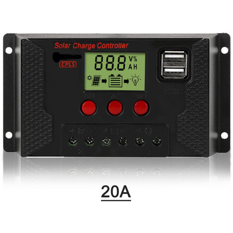 20A Solaire Controleur De Charge, Controleur Panneau Solaire 12V / 24V Ecran Lcd Reglable Panneau Solaire Regulateur De Batterie Avec Double Port, Charge Usb 3 Types De Batteries, Noir