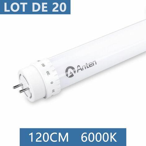 20×Anten 120CM 20W Tube LED T8 G13 Tube Fluorescent Eclairage Plafonnier LED 2000 Lumen Néon LED Blanc Froid 6000K Starters Fournis