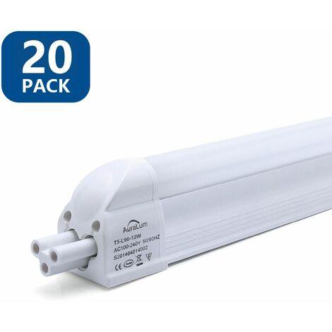 20×Anten T5 90CM Tube LED 12W Tube de Lumière Fluorescente IP20 avec Réglette Complète Blanc Neutre 4000K