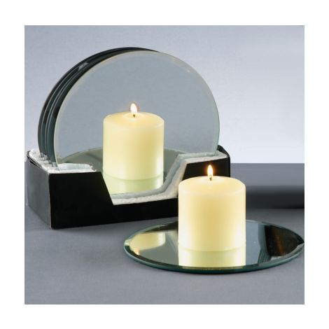 20cm Glass Mirror Candle Plate