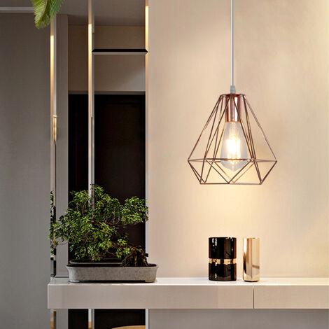 20cm Modern Ceiling Lamp Contemporary Chandelier Retro Pendant Light Diamond Hanging Light Rose Gold Metal Iron Lamp Shade