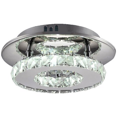20cm Modern LED Ceiling Lamp Luxury Clear Crystal Chandelier Round Ceiling Lamp Cool White for Dining Room Bathroom Bedroom Living Room