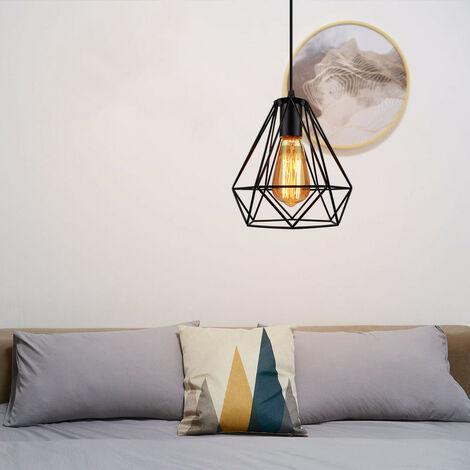 20CM Retro Ceiling Lamp Vintage Chandelier Industrial Pendant Light Diamond Hanging Light Metal Iron Chandelier for Indoor Lighting
