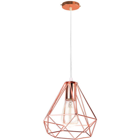 20cm Retro chandelier Industrial Loft Hanging Lamp Diamond Decorative Hanging Light Height Adjustable Retro Ceiling Lamp for Dining Bar Restaurant Living Room Cafe E27 Rose Gold