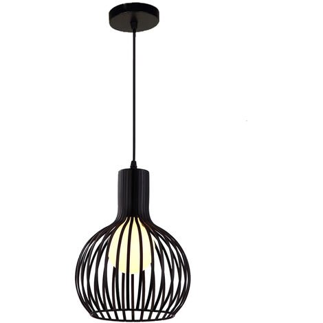 20cm Vintage Pendant Light Fixture Industrial Metal Cage Ceiling Light E27 for Office Bedroom Indoor Decoration Black